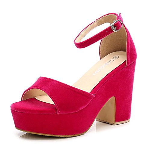 CAMSSOO Women's Solid Color Open Toe Ankle Strap High Heels Wedge Sandals Block Heel Plarform Shoes Fushia Velveteen US7.5 EUR38
