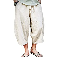 Banana Bucket Men's Patchwork Shorts Loose Linen Harem Capri Pants