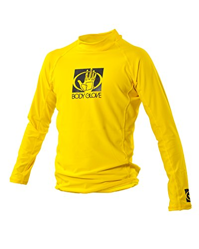 Body Glove Junior Basic Fitted Long Arm Rash Guard, Yellow, Size 6