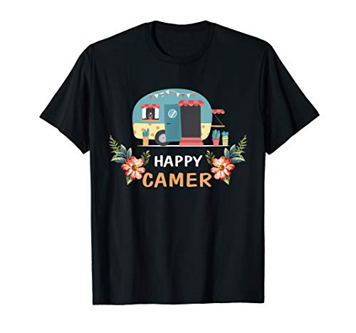 Happy Camper T-shirt Funny Camper Camping Shirt Womens Girls ()