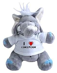 Elefante de peluche (juguete) con Amo Concepcion en la camiseta (nombre de pila/apellido/apodo)