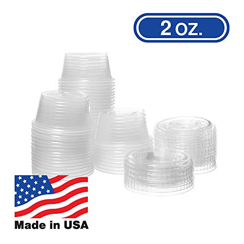 2 OZ Dart Clear Plastic Disposable Portion Cups, Jello Shot, Condiment, Sauce, Sample, Medicine, BPA Free, Made in USA (100 Cups - No Lids)
