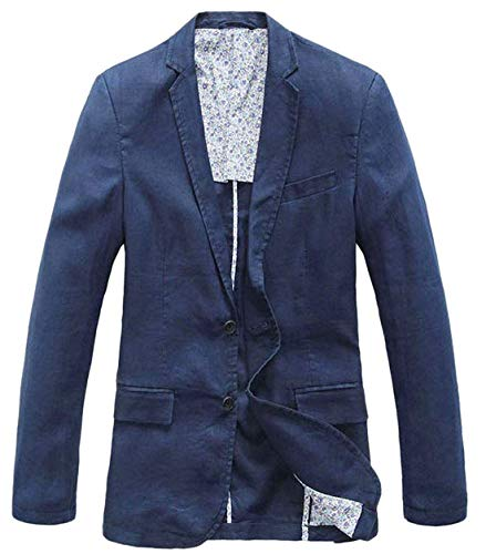 (chouyatou Men's Lightweight Half Lined Two-Button Suit Blazer (X-Large, Navy))