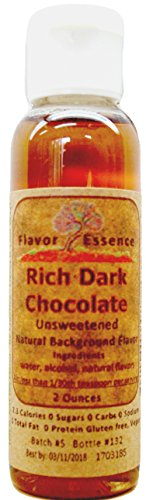 RICH DARK CHOCOLATE by Flavor Essence (Unsweetened, Natural Background Flavoring) 2 Oz.| For Beverages: coffee/tea, shakes/smoothies, bar drinks. For Foods: baking, doughs, batters, frostings, yogurt