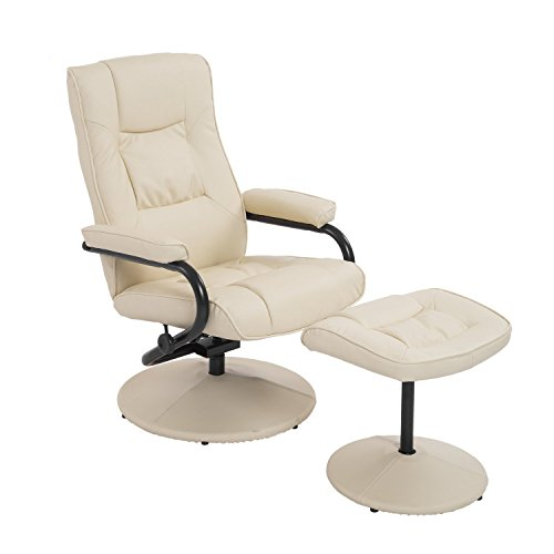 HomCom Ergonomic Faux Leather Lounge Armchair Recliner And Ottoman Set - Cream White (Sale For Armchairs Leather Small)