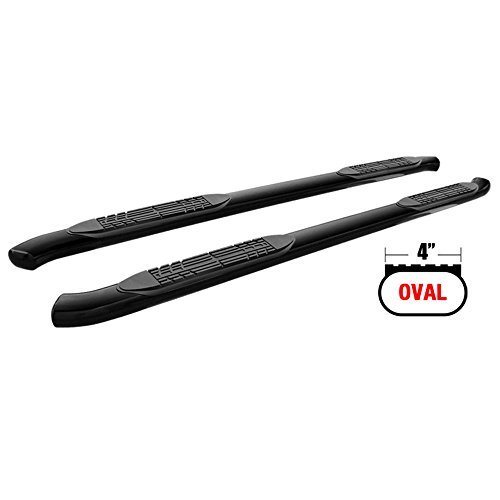 Side Step Bars Compatible With 2007-2018 Chevy Silverado & GMC Sierra Crew Cab | Black Powder Coat Finish Carbon Steel Running Boards Nerf Bars By IKON MOTORSPORTS | 2008 2009 2010 2011 2012 2013