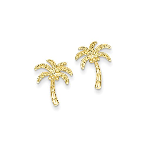 14k Yellow Gold Palm Tree Post Earrings