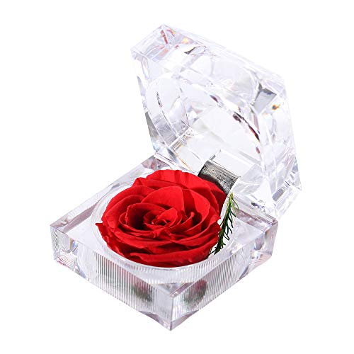 - Handmade Preserved Fresh Flower Rose with Acrylic Crystal Ring Box ,a Gifts for Women,Her,Sister,Girls, Christmas,Thanksgiving Day, Anniversary, Birthday, Wedding etc(Skyfire)