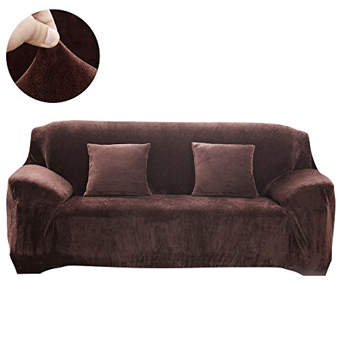 Scorpiuse Velvet Couch Cover Stretch Spandex 1-Piece Sofa Slipcover Fitted 3 Cushion Couch Protector Chocolate