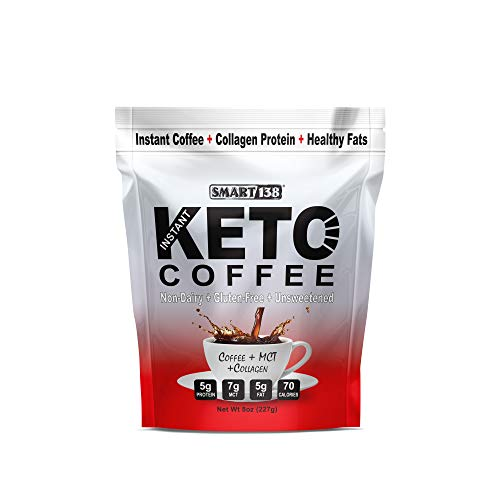 Keto Coffee (Non-Dairy), Zero Sugar, MCT Oil, Collagen Protein, Real Colombian Coffee, Just Add Water (8oz, 15 Servings)