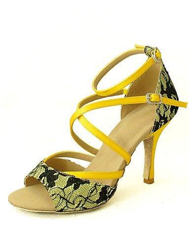 ShangYi Customizable Women's Dance Shoes Latin/Salsa Lace Customized Heel Black/Yellow/Red Red pgLxH3u1