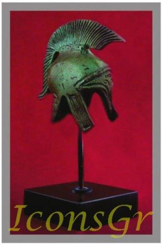Ancient Greek Bronze Replica of Macedonian Helmet on Base (1384-1)
