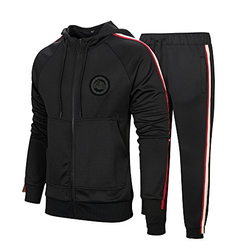 Men's Hooded Athletic Tracksuit Full Zip Casual Jogging Gym Sweat Suits Black 2XL by MANTORS