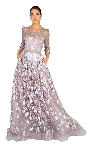 Terani Couture - 1913M9408 Quarter Sleeve Embroidered Sheer Ballgown