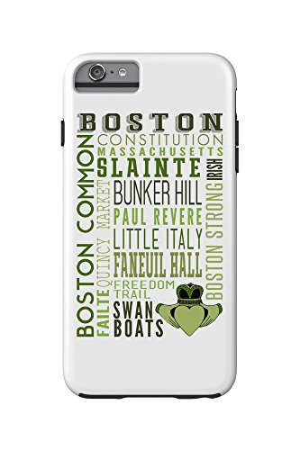 Boston, Massachusetts - Typography with Claddaugh (iPhone 6 Plus Cell Phone Case Cell Phone Case, Tough)