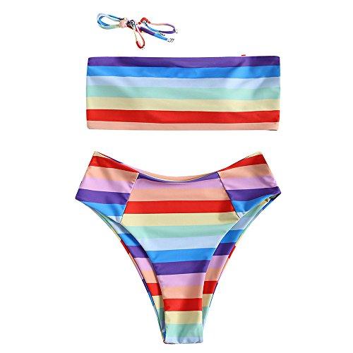 DEZZAL Women's Strapless Rainbow Stripe High Cut Two Piece Bandeau Bikini Set (High Waist, (Rainbow Womens Swimsuit)