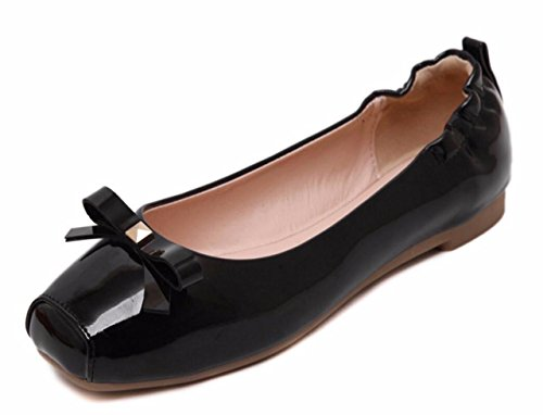 CAMSSOO Women's Cute Square Toe Bow Flats Ladies Patent PU Loafer Shoes Black Patent PU Size US10 EU42
