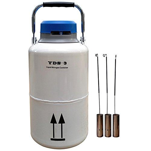 50 mm Diameter Liquid Nitrogen Container 3 Liter with Cover 5 Years Vacuum Guarantee ()