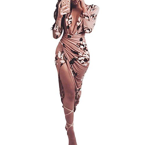 - Jushye Clearance Women's Spring Dress, Ladies Sexy V Neck Slim Casual Floral Print Long Sleeve High Slit Bodycon Dress (Coffee, S)