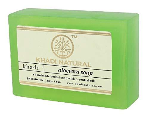 Khadi Natural Handmade Herbal Aloe Vera Soap (125 g) (Best Herbal Soap For Oily Skin In India)