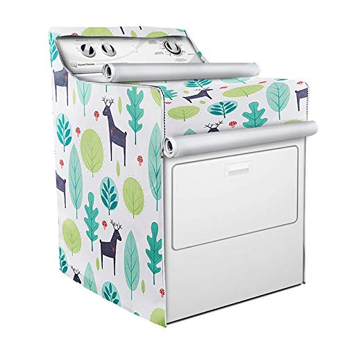 Washer/Dryer Cover,Fit for Outdoor top-Load and Front Load Machine,Zipper Design for Easy use,Waterproof Dustproof Moderately Sunscreen(W29D28H40in,Fallow Deer)