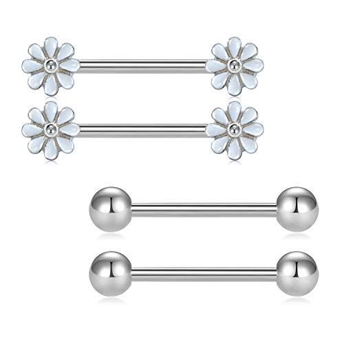 (D.Bella Cute Daisy Nipple Barbell Ring 14G 5/8 inch Stainless Steel Nipple Bar Piercing Jewelry)