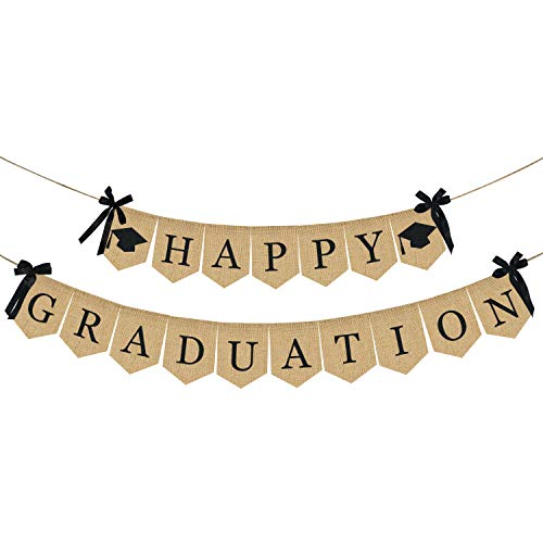 (Burlap Happy Graduation Banner | Rustic Vintage Graduation Decorations | Perfect for Graduation Party Supplies 2019 | Grad Party Decor for Home, College, Senior, High School Prom)