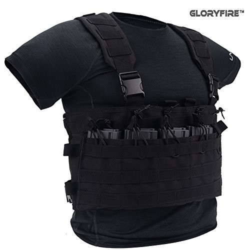Elite Tactical Vest - GLORYFIRE Tactical Vest Elite Molle Law Enforcement Vest Assault Chest Modular Vest (BB)