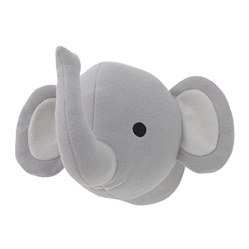 Little Love by NoJo Plush Head Nursery Wall Decor, Elephant, Gray