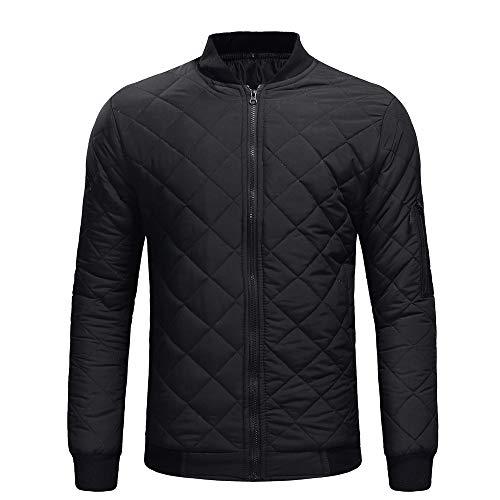 QBQCBB Men Winter Coat Warm Slim Thick Coat Casual Jacket Solid Color Outerwear(Black,XXL)