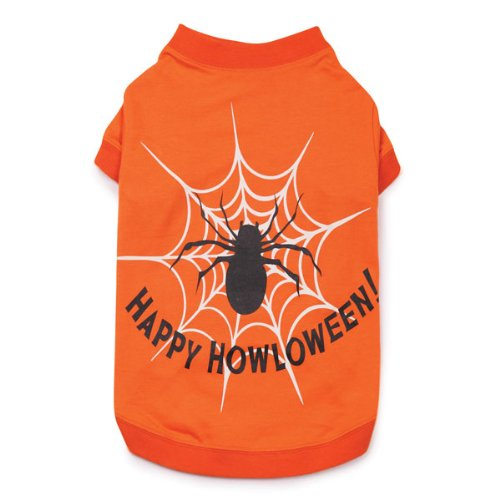 Zack and Zoey Cotton/Polyester Glow Web Design Dog Tee, Small, Orange, My Pet Supplies