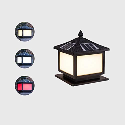 IBalody Solar Led Three-Color Dimming Waterproof Outdoor Column Lamps Retro Industrial Metal Iron Acrylic Post Lights Garden Door Villa Home Decorative Pillar Lights (Size : L)
