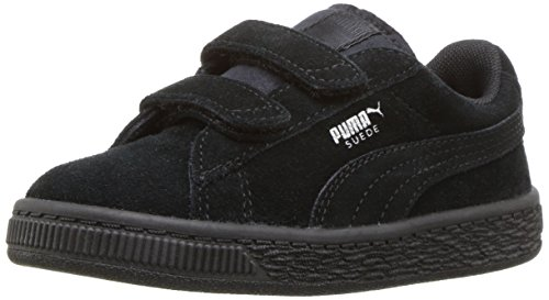 PUMA Baby Suede 2 Straps Kids Sneaker Black Silver, 6 M US Toddler