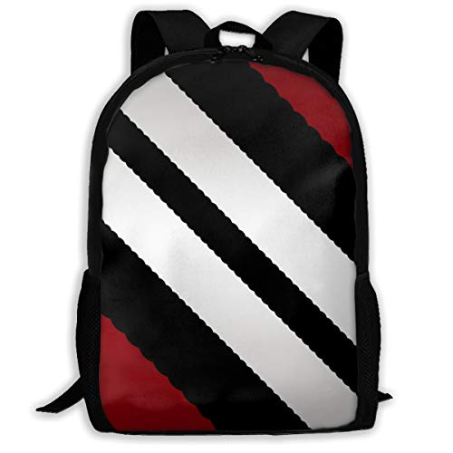 (Red Black Gray Diagonal Stripes Fashion Outdoor Shoulders Bag Durable Travel Camping For Kids Backpacks)