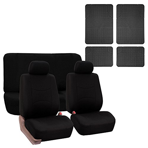 FH Group FB050112 + F11300: Black Modern Flat Cloth Seat Covers and Black Rubber Floor Mats- Fit Most Car, Truck, Suv, or Van