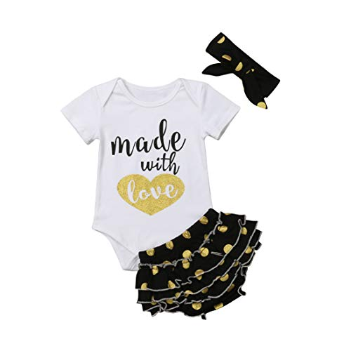 Newborn Baby Girls Clothes Rompers+Ruffel Pants Shorts+Headband 3PCS Outfits Set (Black, 0-6M) ()