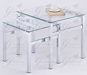 Elsa clear glass nest of tables set of 2 contemporary - Glass side tables for living room uk ...