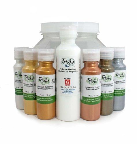- Tri-Art Professional-FQ Liquids Acrylic Iridescent Paint Set, 6 by 60ml