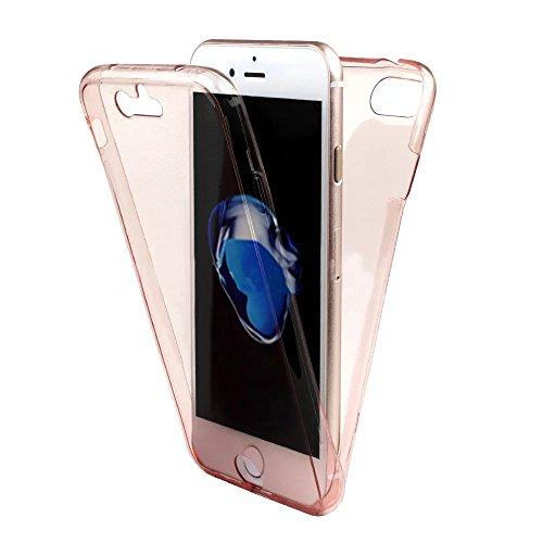 Funda Doble para iPhone 6s, Vandot Bling Brillo Carcasa Protectora 360 Grados Full Body | TPU en Transparente Ultra Slim Case Cover | Protección Completa Delantera y Trasera Cocha Smartphone Móvil Acc Transparent-Rose Or