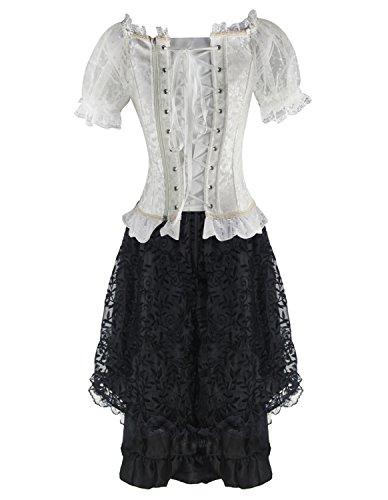P Kleid 20021 Rock Damen Corsage Gothic Burvogue Steampunk white Lang Corsagenkleid ZqTA8w6I