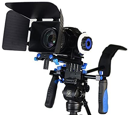 StudioFX DSLR RIG With Follow Focus And Matte Box Shoulder Mount Rig with COUNTER WEIGHT Camcorder Steady Video Cam Camera (Blue) RIG KIT M
