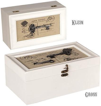 Cajas para cartas, joyero de madera con llave para guardar joyas, aspecto Shabby (set 2 unidades) - grande: Amazon.es: Hogar