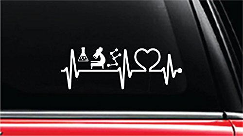 "Chemistry Apparatus Heartbeat Lifeline Vinyl Die-Cut Decal Sticker for Car, Truck, Notebook, Laptop, Computer or Window (8"", White)"