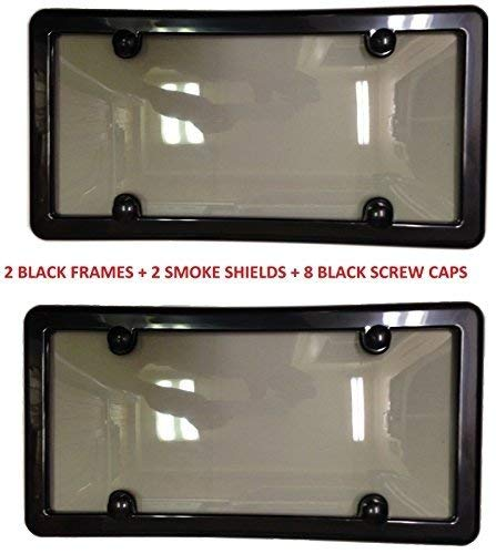 2 UNBREAKABLE TINTED SMOKE LICENSE PLATE SHIELD COVER + 2 BLACK FRAMES + 8 BLACK SCREW CAPS -