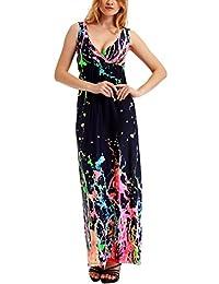 Bewish Womens Summer Sexy Floral Printed Sleeveless V-Neck Maxi Long Dress