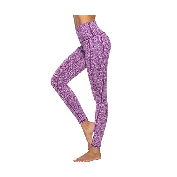 Deevike High Waist Yoga Pants With Pockets Tummy Control Workout Leggings 4 Way Stretch Running Tights For Women
