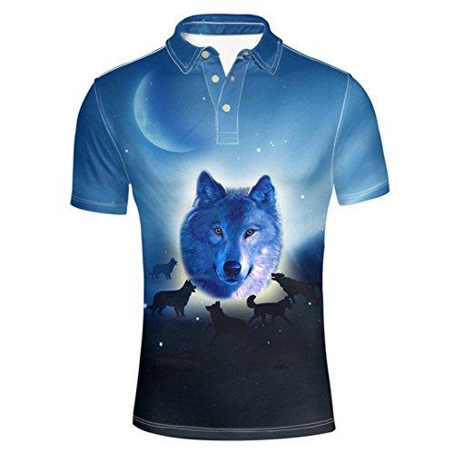 HUGS IDEA Classic Men's Jersey Polos Shirt Fashion Wolf Graphic Short Sleeve 3 Button T-Shirts Clothing ()
