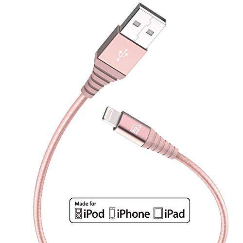 LAX Gadgets iPhone Charger, Apple Certified Braided 6ft Strong Lightning Cable - Lightning to USB Tough Charging Cord for iPhone X 8 8 Plus 7 7 Plus 6s 6 SE 5s, iPad, Pro, Air 2, Mini (Rose Gold)