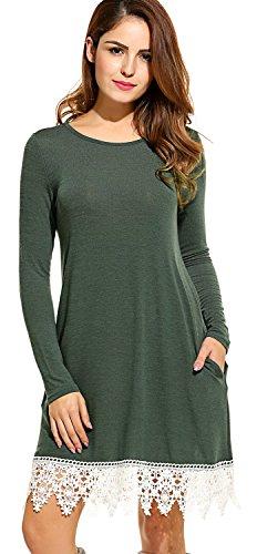 Trimmed Crochet Dress (POGTMM Women's Casual Long Sleeve Crochet A-line Lace Stitching Trim Hem Tunic Dress (S, Green))