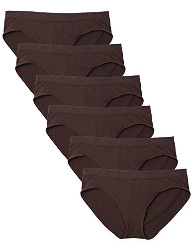 Kalon 6 Pack Women's Hipster Brief Nylon Spandex Underwear (Medium, 6PK Chocolate)
